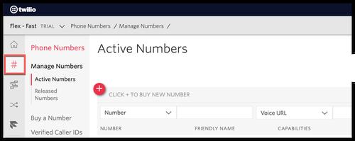 Menu des numéros de téléphone dans la console Twilio