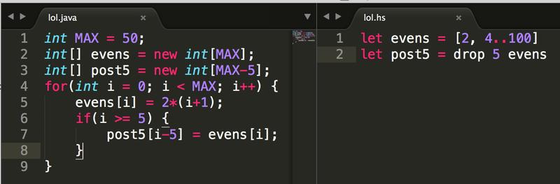 Vergleich der Java- und Haskell-Programme
