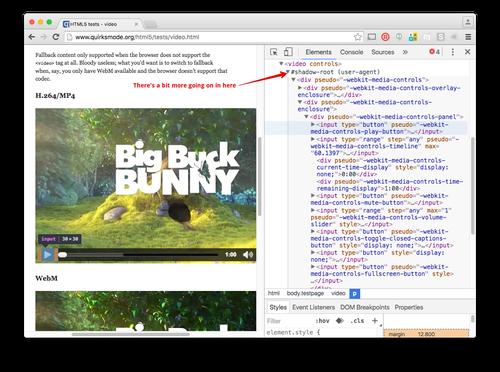 Wenn wir nun das Video-Element untersuchen, befinden sich ein Shadow Root und eine ganze Menge Divs, Eingaben und anderes HTML darin.