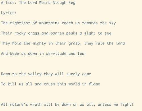 Computer-generated Slough Feg lyrics