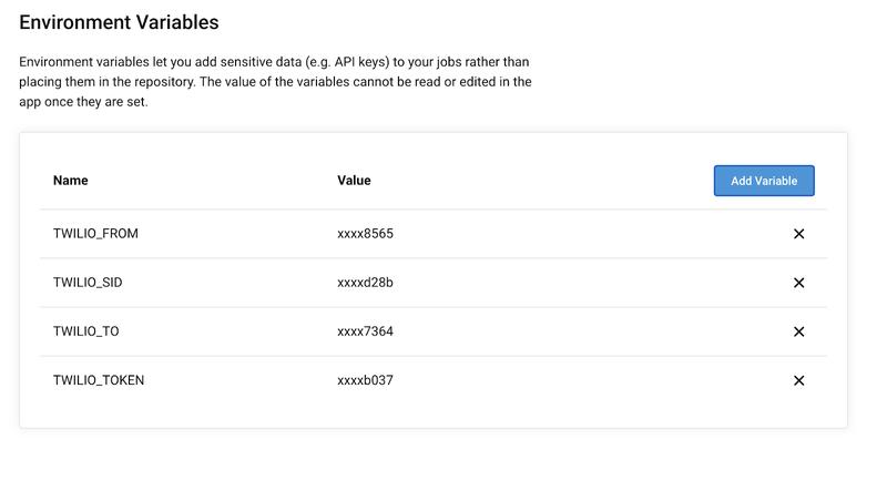 CircleCl Environment variables