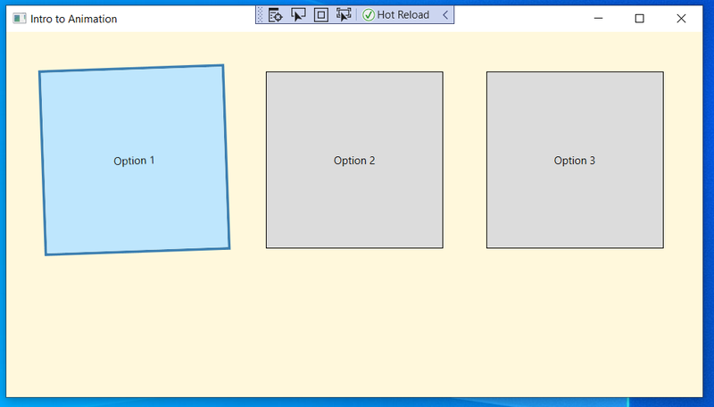 Screenshot showing the effect of hovering over the first option button with the mouse: rotation and color change