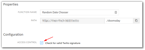 "Screenshot: Function configuration with name ""Random Date Chooser"", path ""/doomsday"" and a highlight on the ""Check for valid Twilio signature"" checkbox."