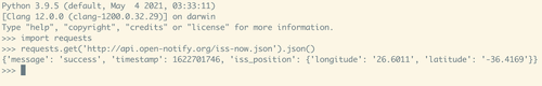 A Python 3.9.5 shell displaying code for making an HTTP request to the ISS Open Notify API