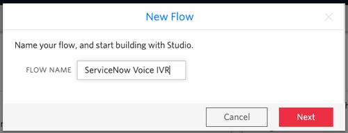 Forma para crear un nuevo flujo de voz