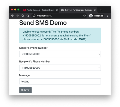 failed send sms example with test credentials