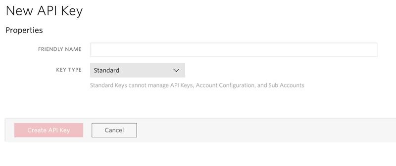 Twilio API Key form