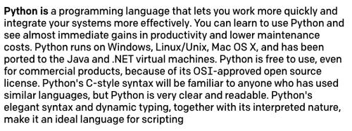 Preenchimento do 'Python is' com resposta mais longa