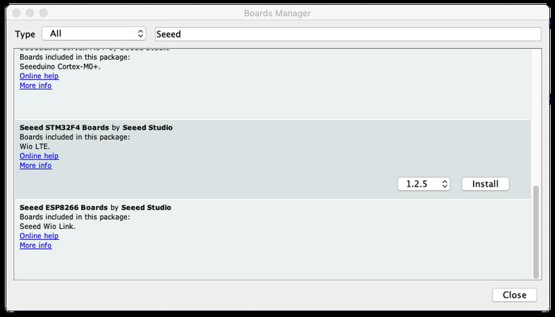 Add the Seeed Studio boards to Arduino IDE for the Twilio Wio LTE Machine-to-Machine quickstart