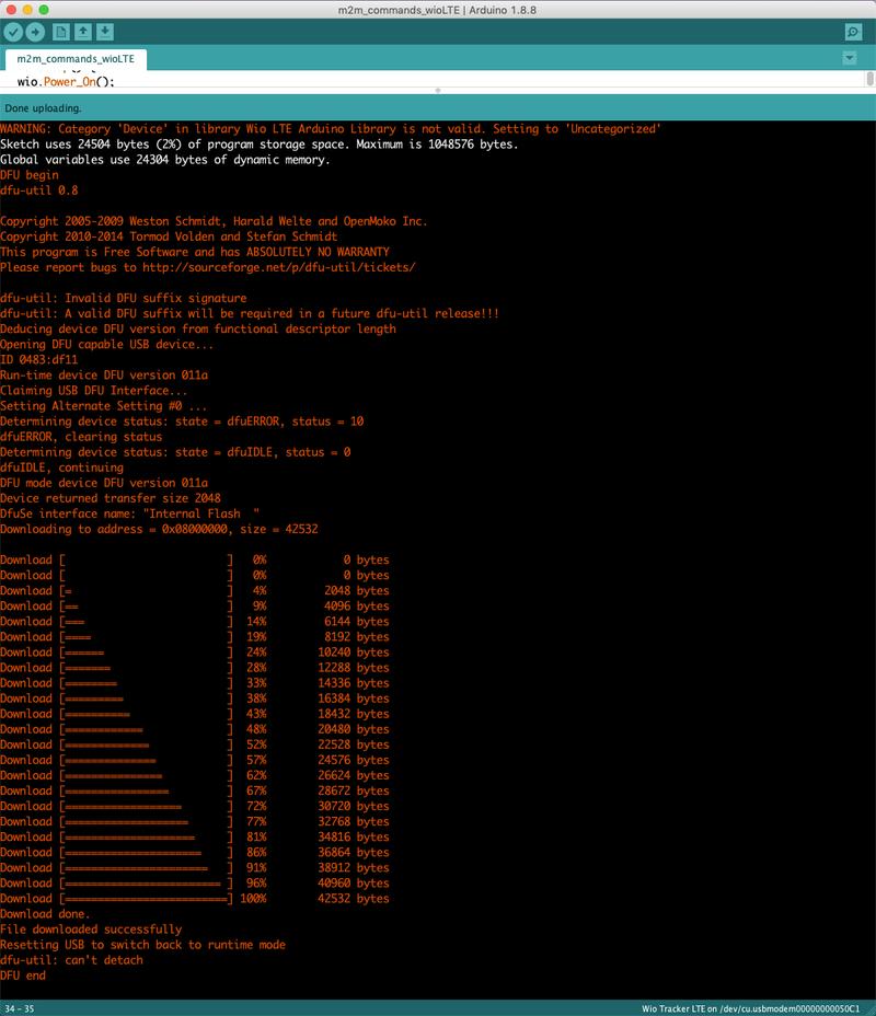 Arduino IDE upload progress for the Twilio Seeed Studio Wio LTE quickstart