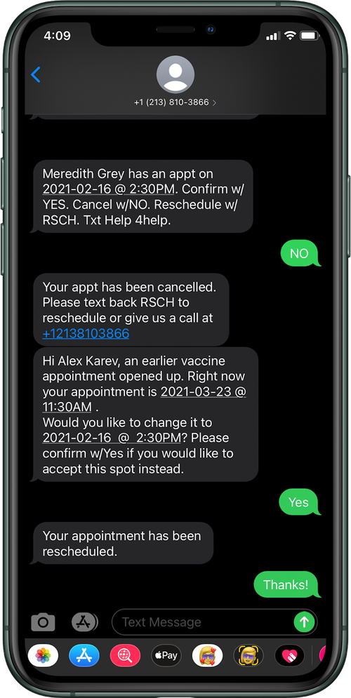 image of an iPhone with examples of text messages that will come through when the vaccine appointment reminder is set up.