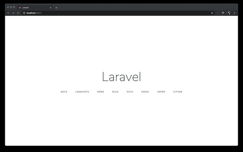 Laravel application homepage