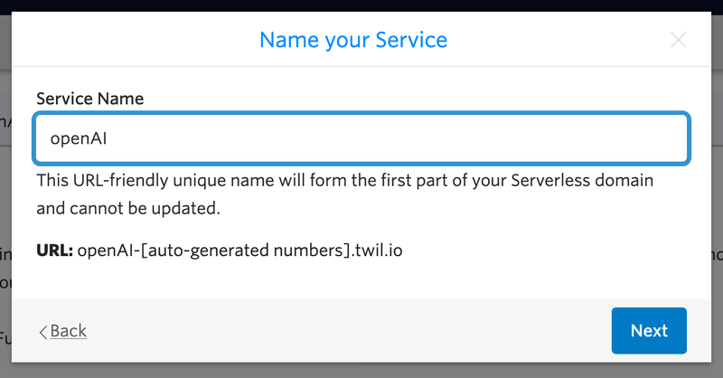 """Name your service """"openAI"""" text field"""