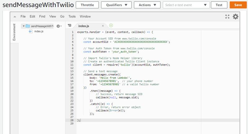 Function overview of sendMessageWithTwilio