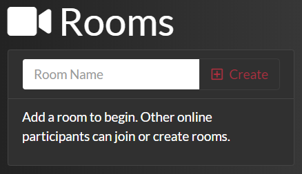 video chat Rooms list before adding a room