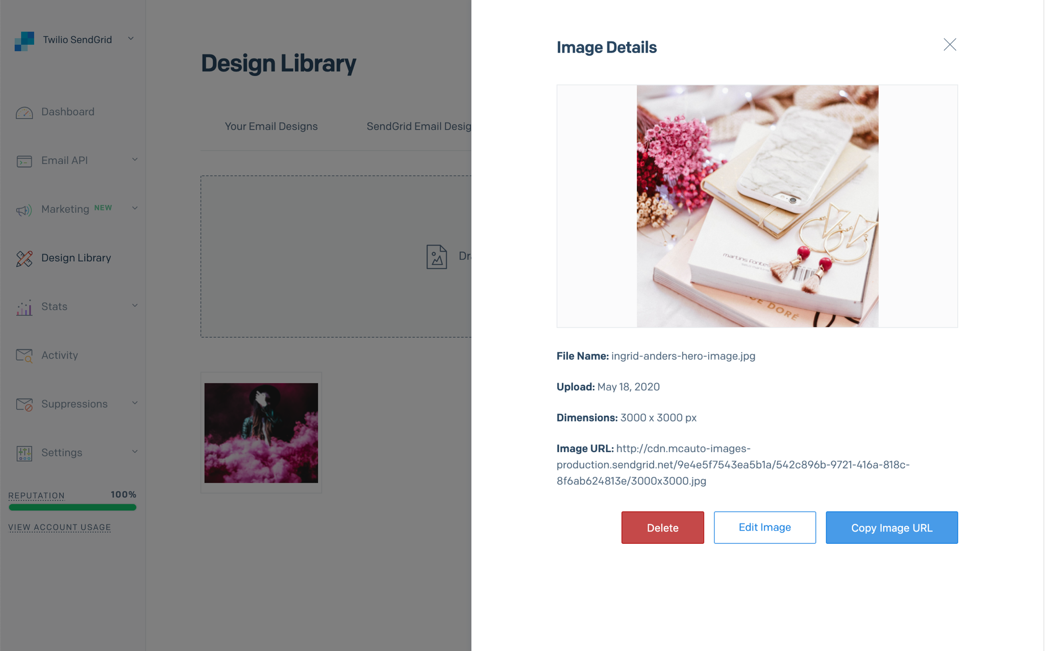A sidbar modal showing an image's details and allowing you to delete the image, edit the image, or copy the image's URL