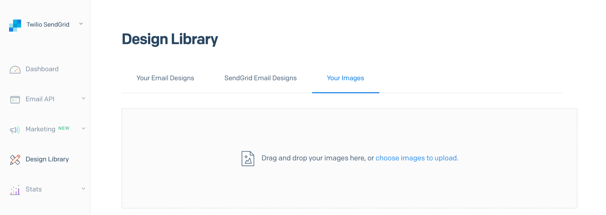 The Image Library landing page in the SendGrid App. Here you can upload new images or select existing images to edit.