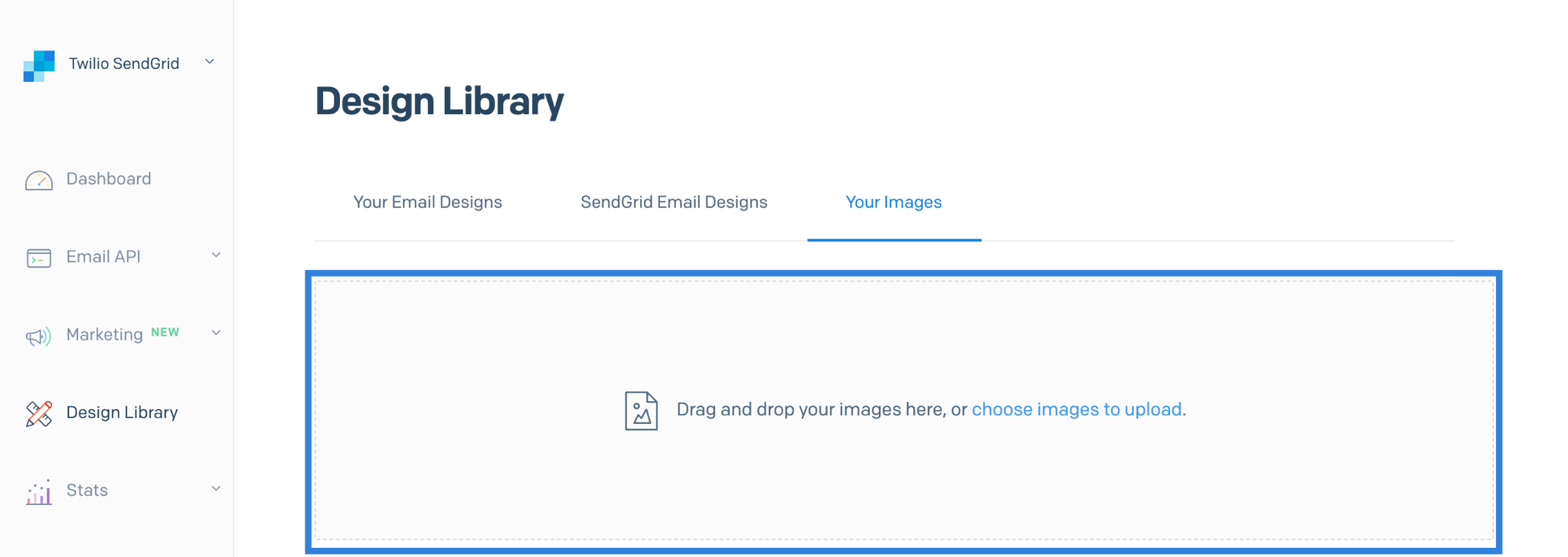 Upload a new image to the Image Library