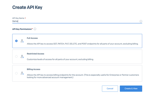 Create Api Key with Twilio SendGrid