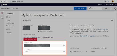 Twilio Account SID and Auth Token