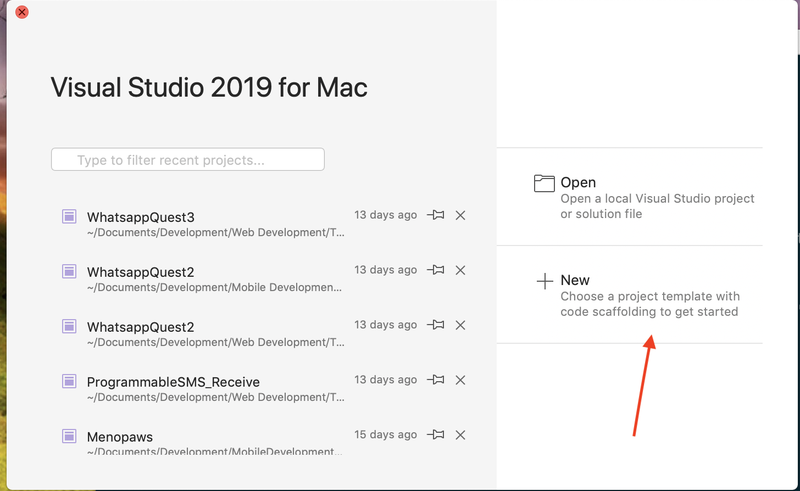 New project under Visual Studio 2019 for Mac