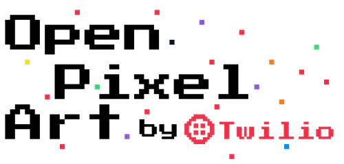 "Logo with colorful pixels and a pixelated text reading ""Open Pixel Art by Twilio"""