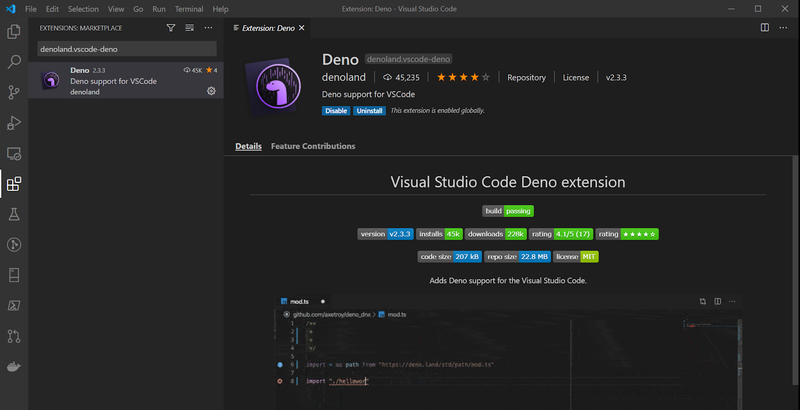Screenshot of Deno extension in Visual Studio Code