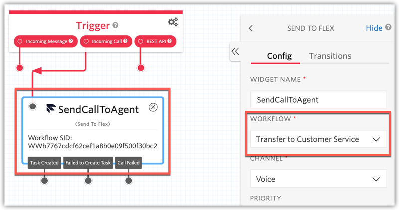 Transition a call to the Customer Service Workflow