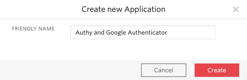 create a new authy application
