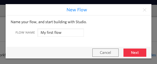 Adding a new name for the flow in the Studio dashboard