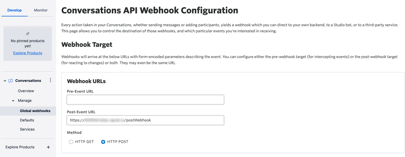 Configuring global webhooks for Conversations in the Twilio Console