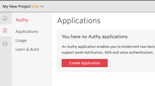 Authy create new application