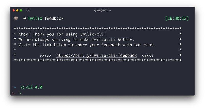 Result of `twilio feedback` - bit.ly/twilio-cli-feedback