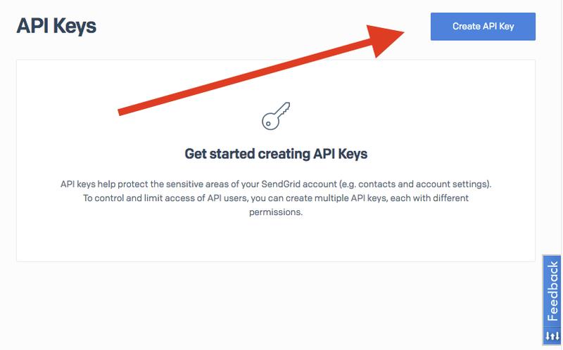 Create a SendGrid API Key button