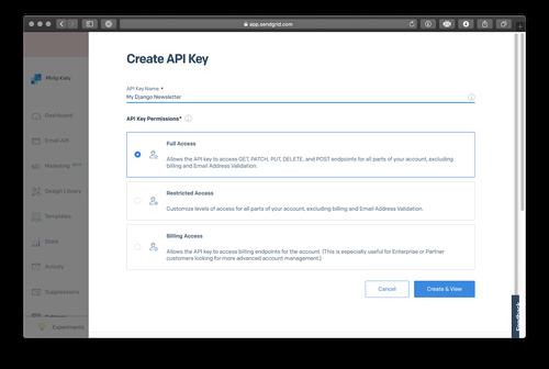 SendGrid create API key screenshot