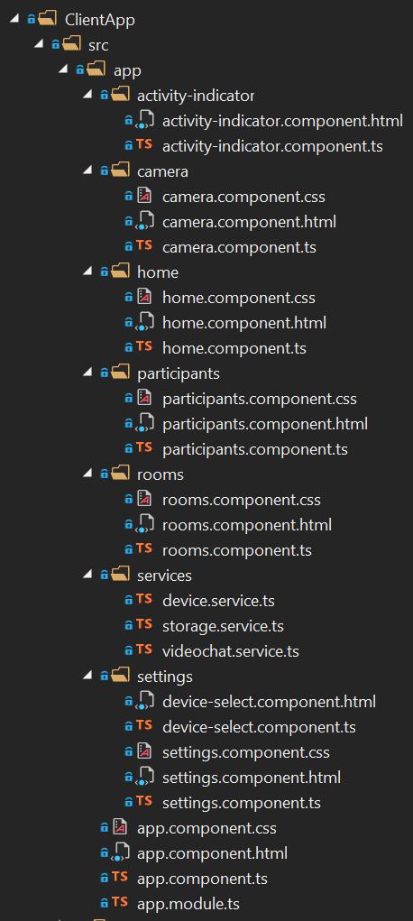 Módulo de la app en detalle del navegador de soluciones de Visual Studio