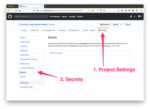 screenshot of GitHub project settings screen showing the Secrets section