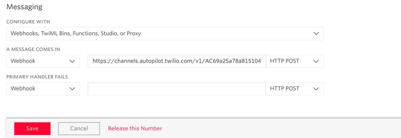 Twilio Messaging Webhook dashboard