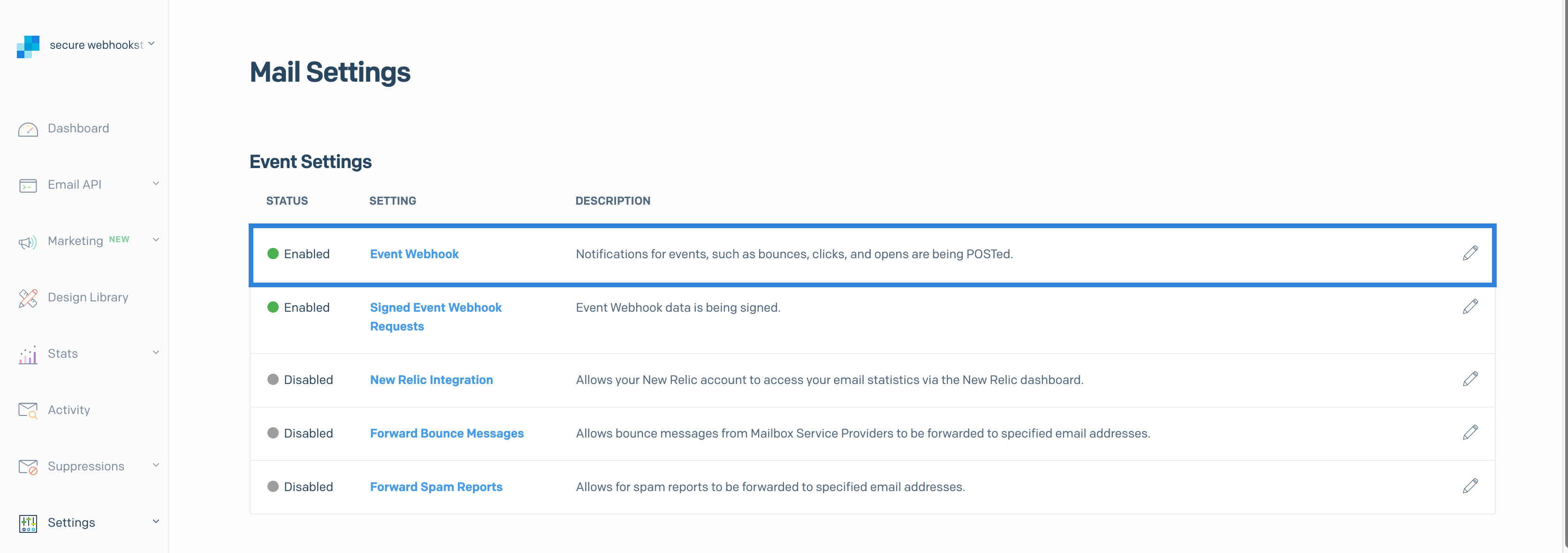 The Event Webhook settings page with the Event Webhook setting highlighted
