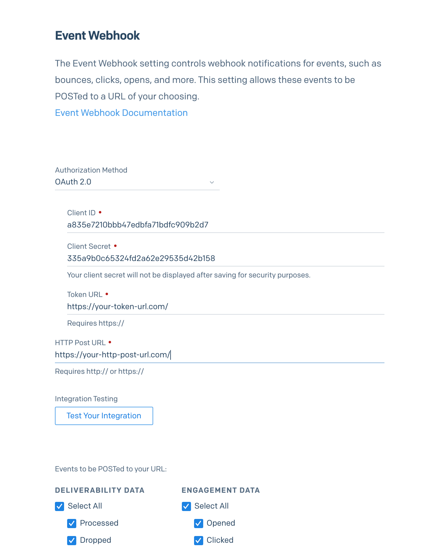 A sidebar modal with all the required fields for enabling OAuth 2.0 for the Event Webhook