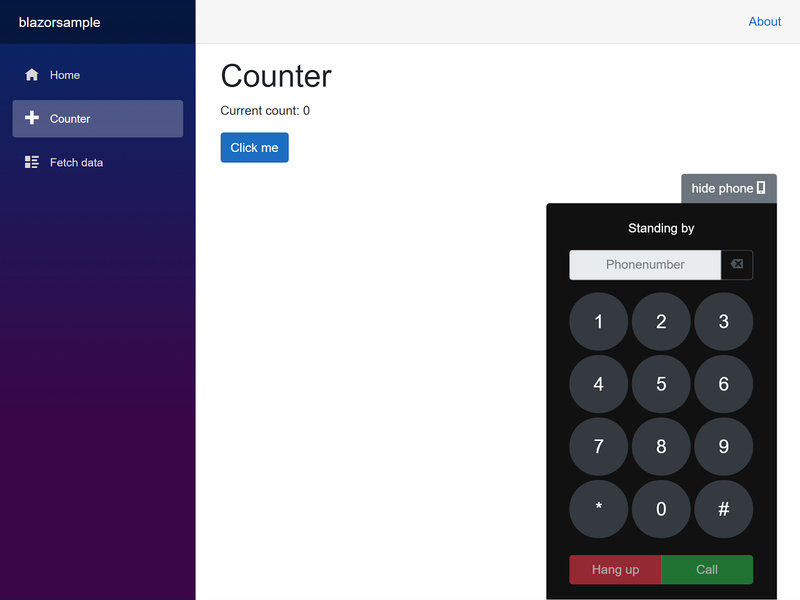 Screenshot of the completed application showing the dialer component
