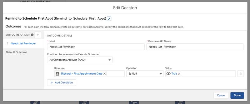 Decision configuration modal