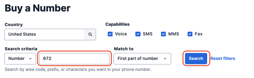 Choose Voice-enabled when buying a phone number