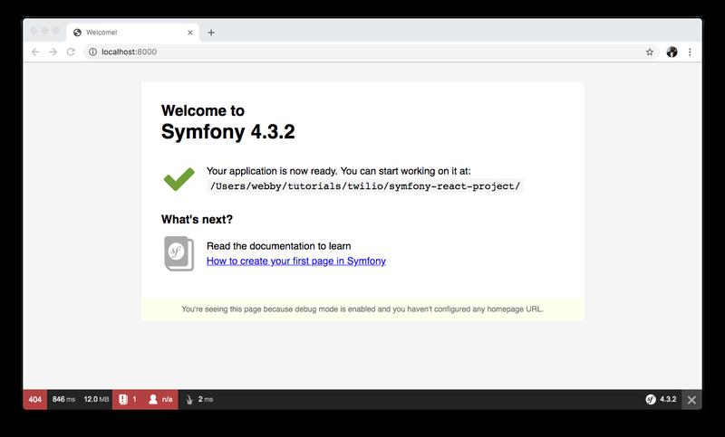 Symfony default homepage