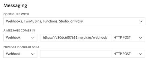 SMS webhook configuration
