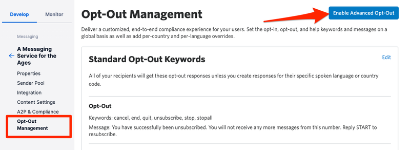 Enable Opt out management