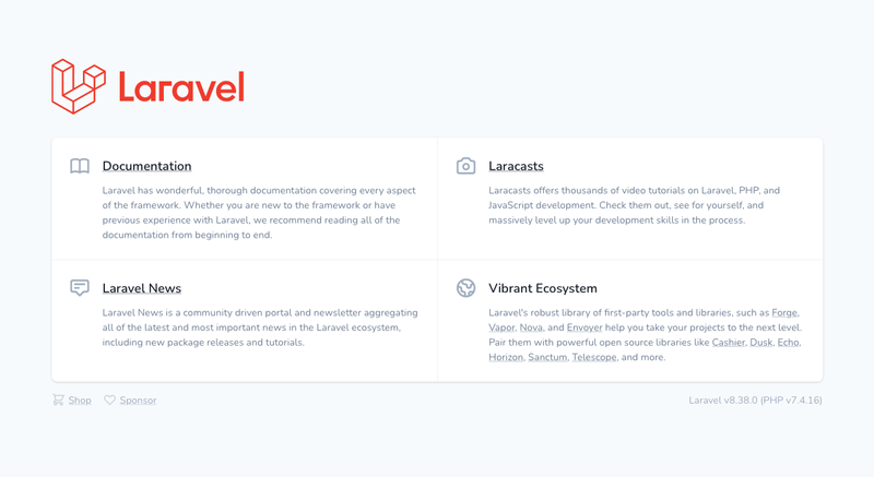 The default Laravel home page