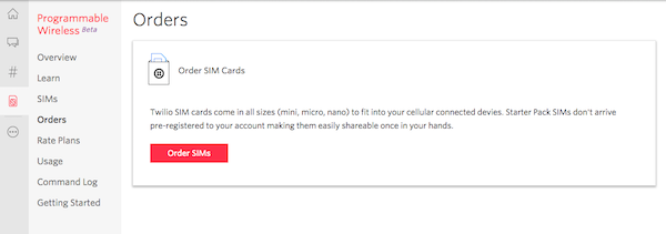 Order SIM Cards from Twilio