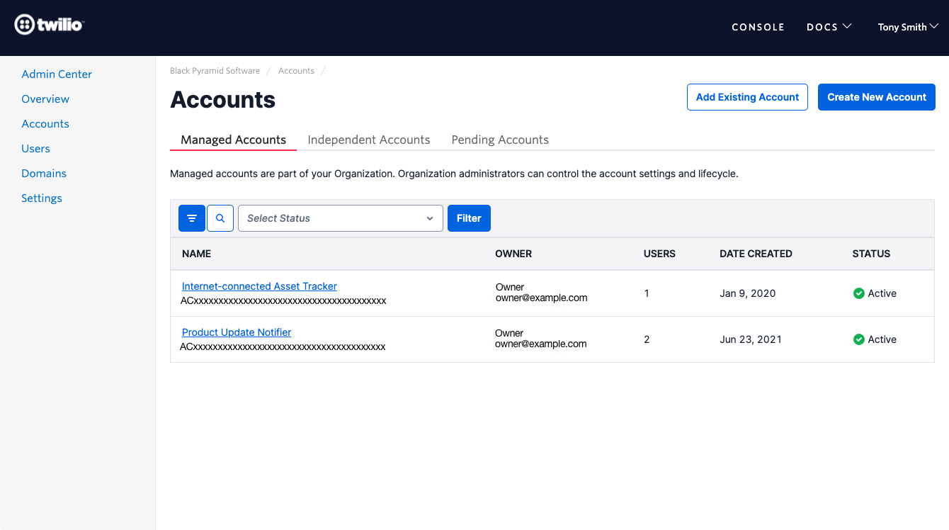 View an Organization's accounts