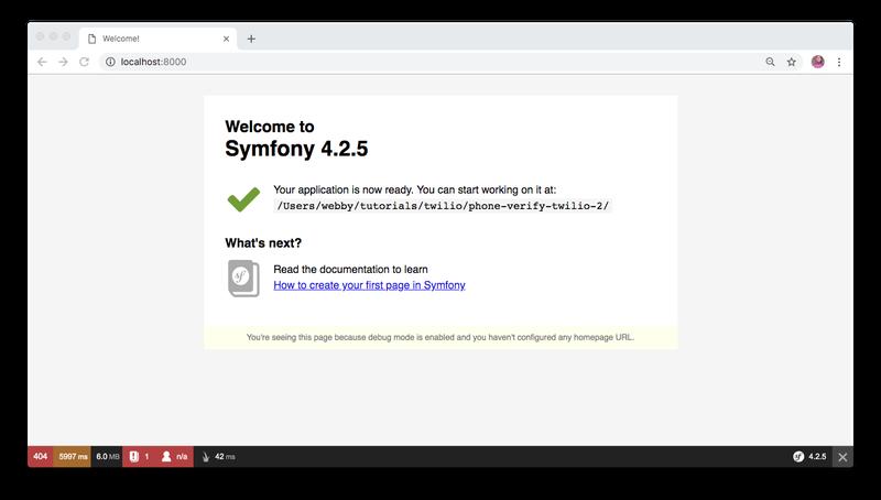 Symfony welcome screen